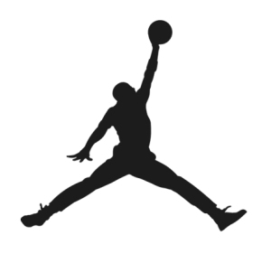 The logo featuring a silhouette of Michael Jordan
